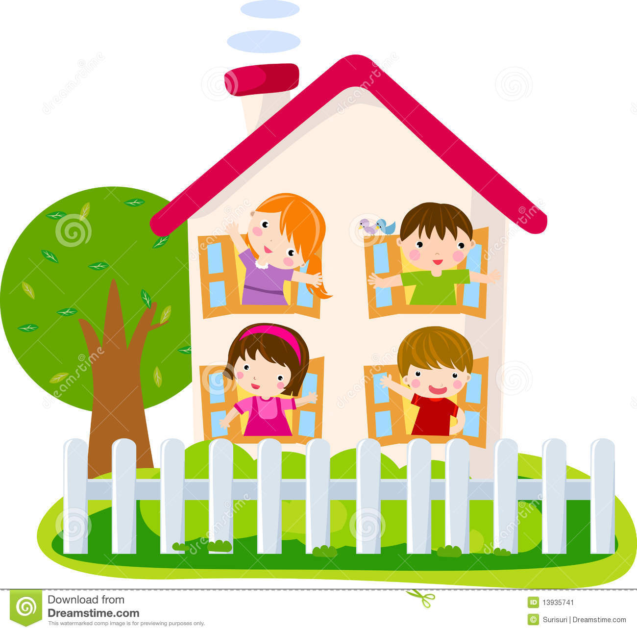 An illustration featuring a childlike drawing of a house with kids and ...