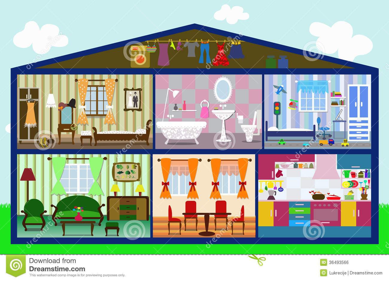 Cute house cut royalty free stock image image 36493566 for Cute house interior