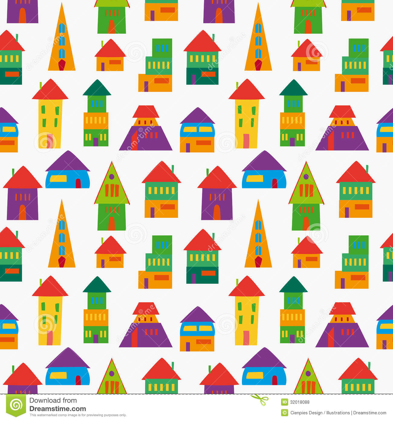 Cute House Pattern Stock Vector Illustration Of Hand