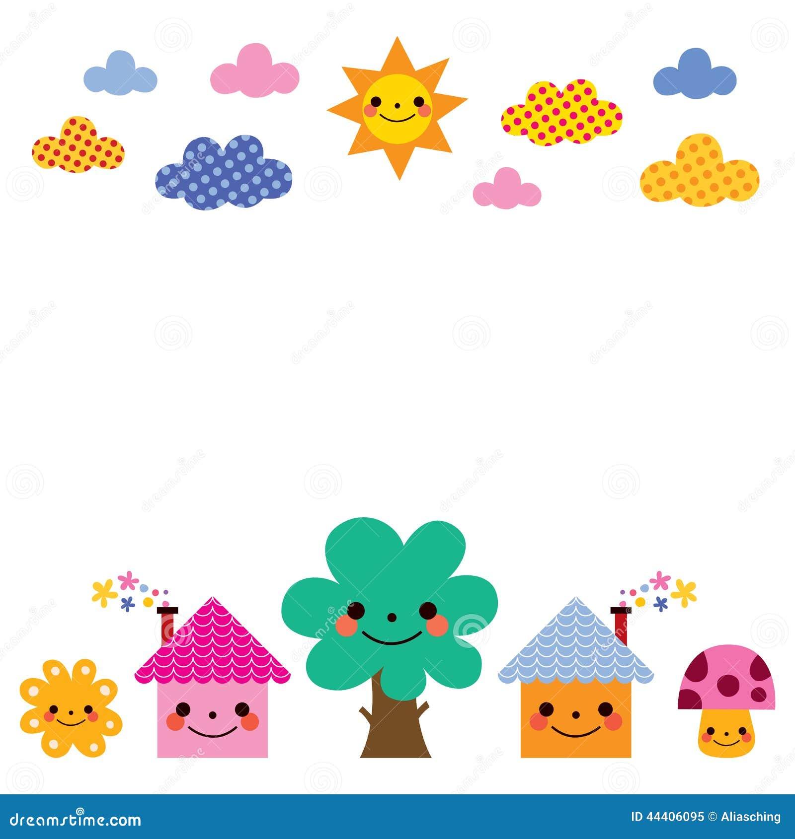 Cute Houses Tree Sun Mushroom Clouds Kids Background