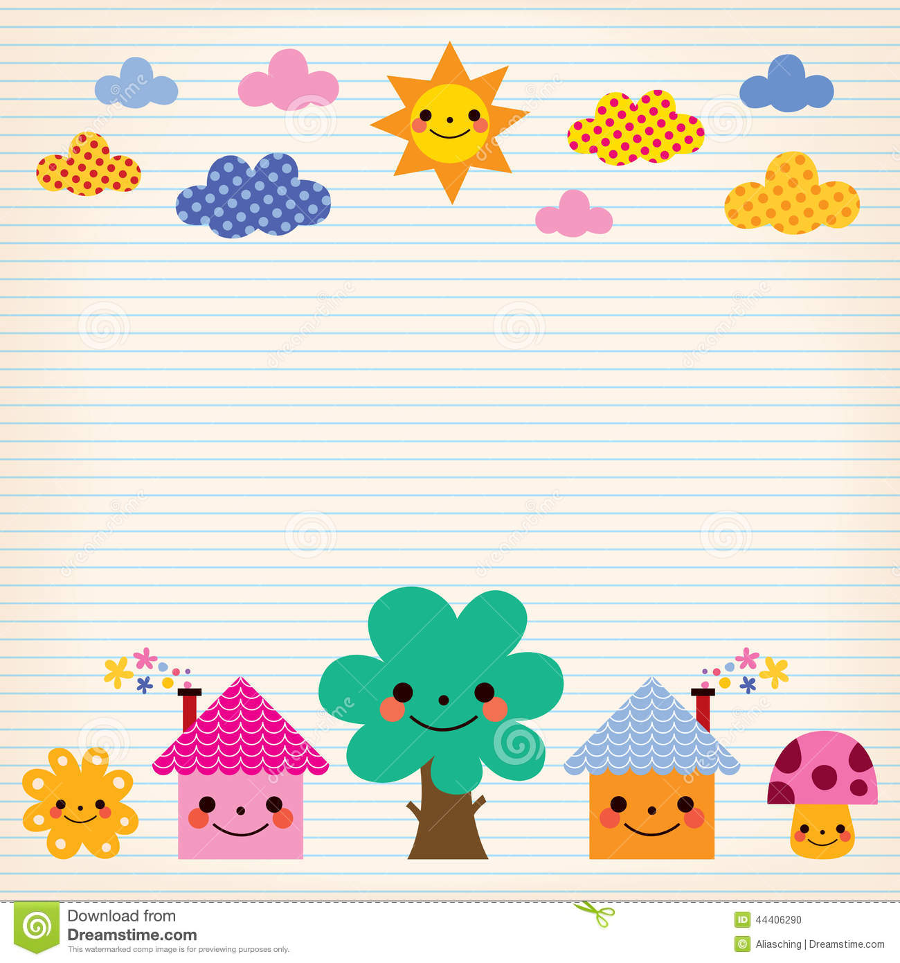 Cute Houses, Tree, Sun, Mushroom, Clouds Kids Lined Paper Background ...