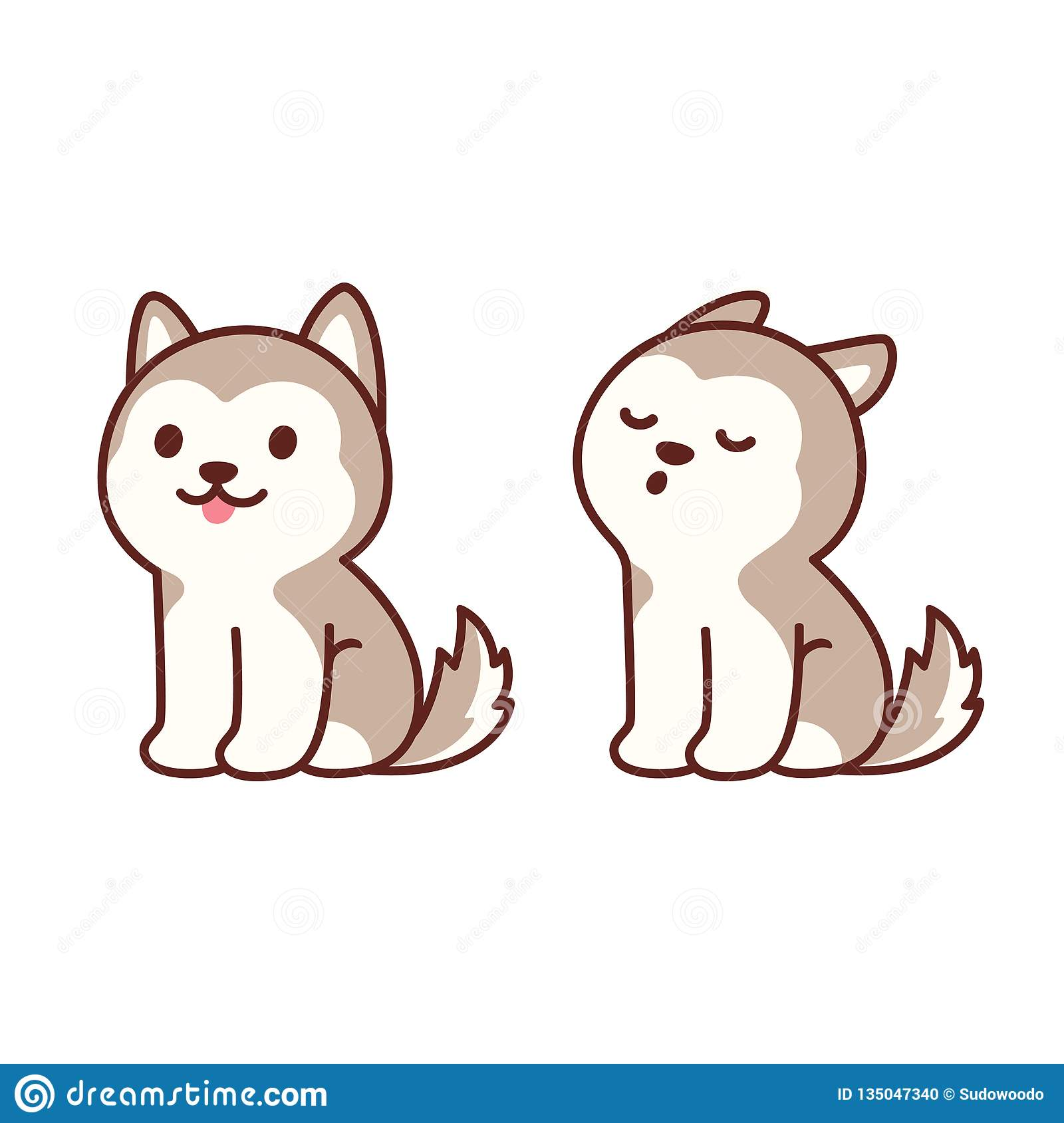 Cute husky puppy howling stock vector  Illustration of