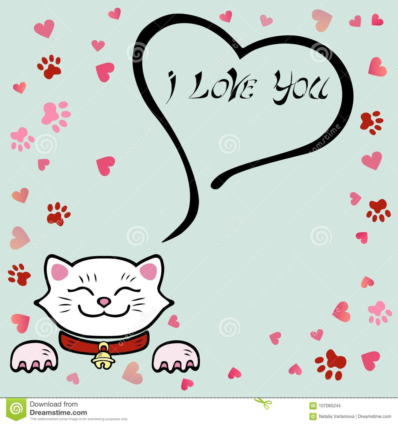 Cute I Love You Card With White Cat Stock Illustration