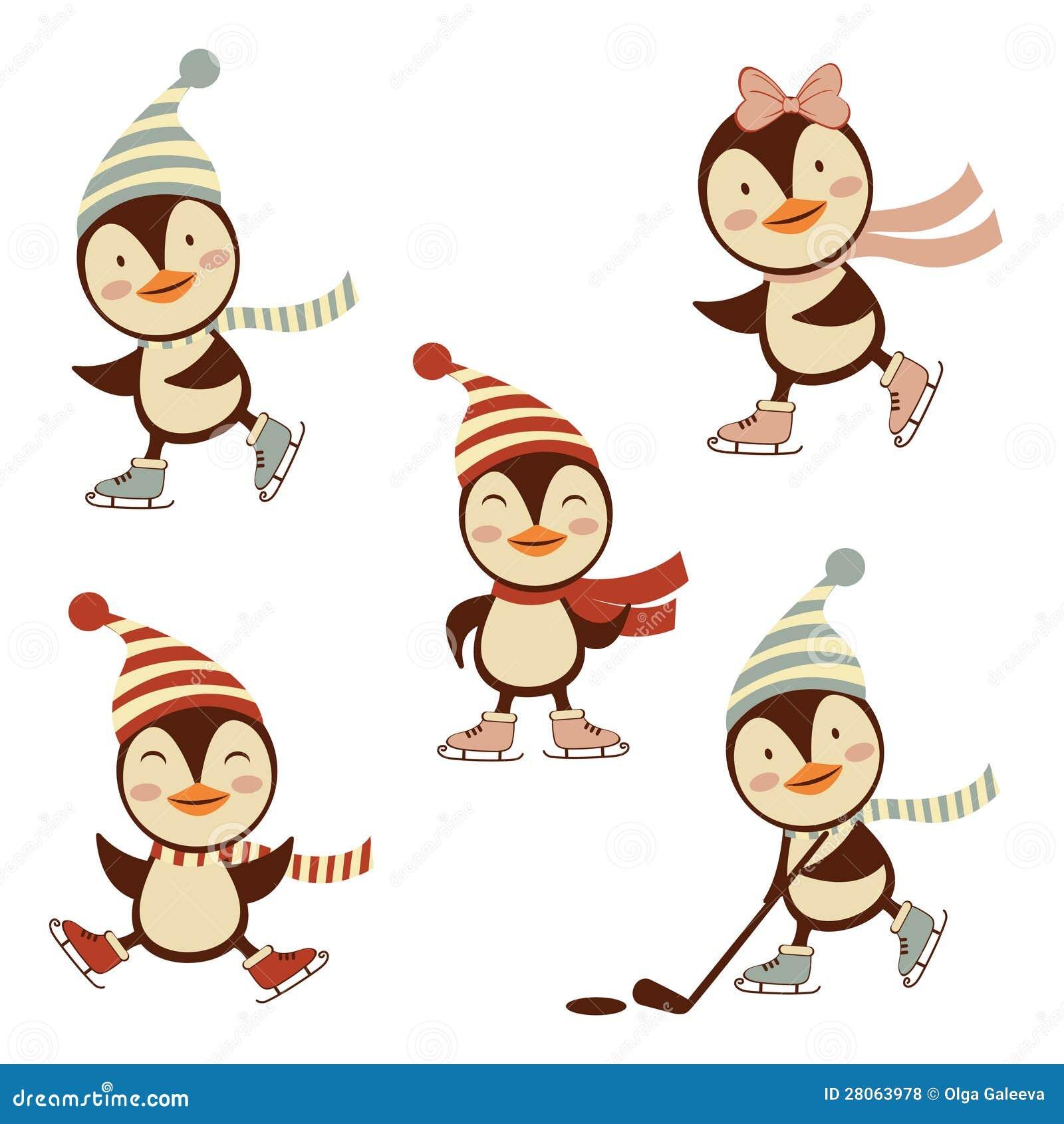 Cute Ice Skating Pengu...