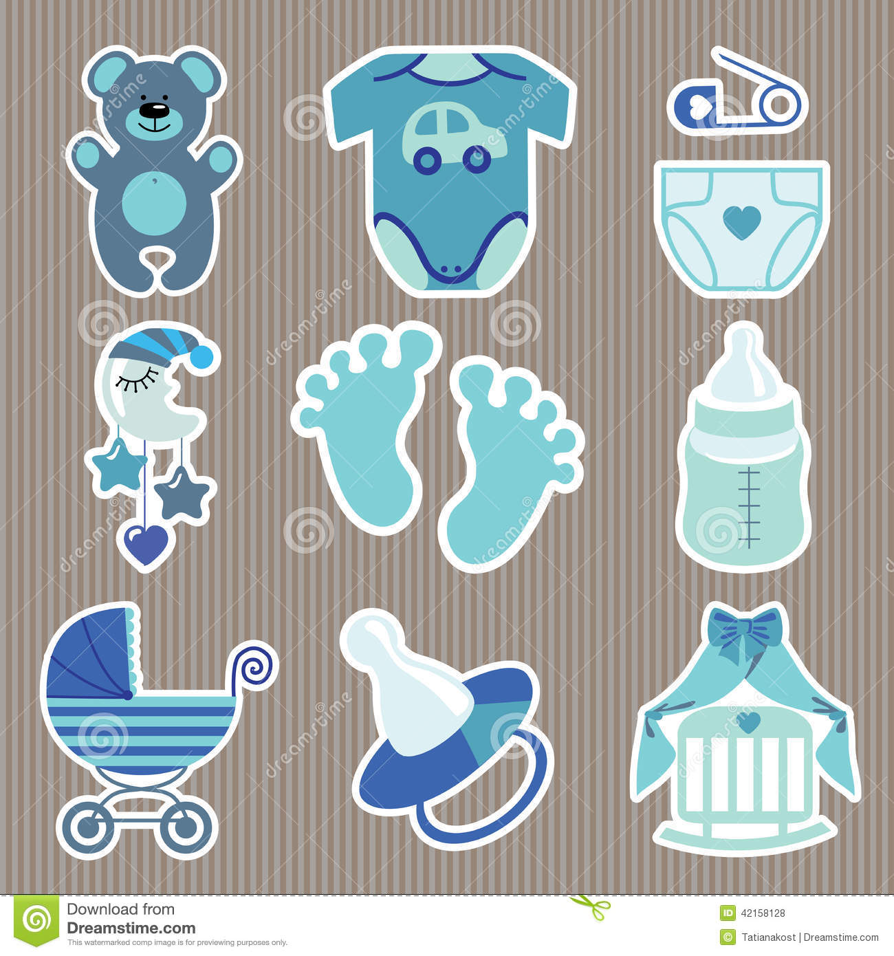 Cute Icons For Newborn Baby Boy.Strips Background Stock Illustration ...