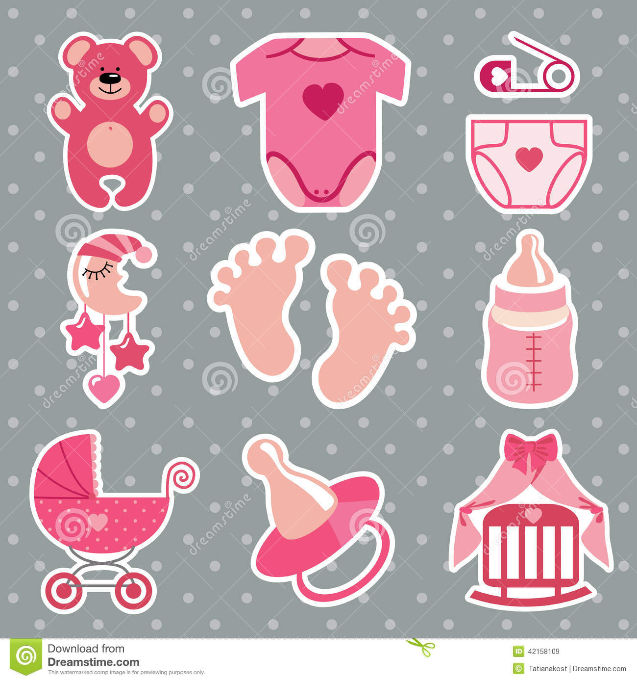 cute icons for newborn baby girl polka dot background. Black Bedroom Furniture Sets. Home Design Ideas
