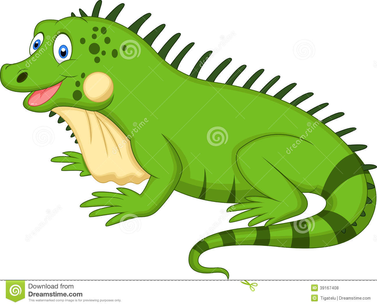 Cute Iguana Cartoon Stock Vector. Illustration Of Claws