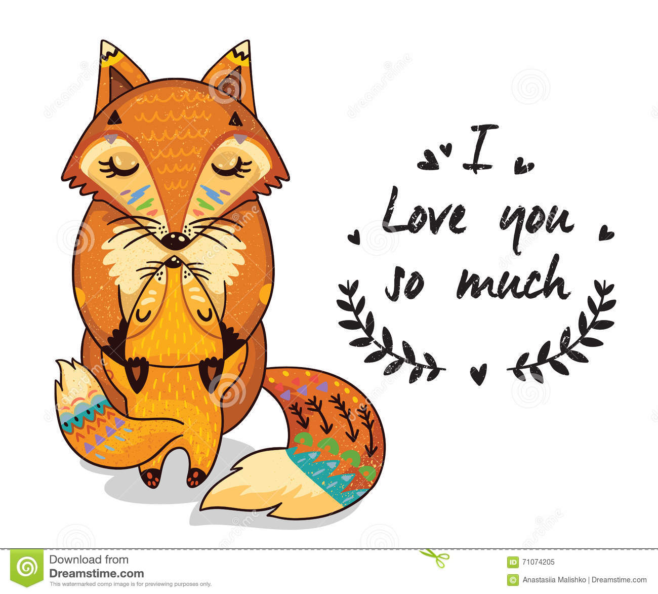 Cute Illustration Foxes With Text I Love You So Much ...