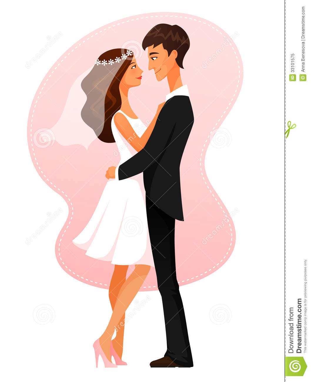 Young Couple Cartoon Royalty Free Stock Pho...
