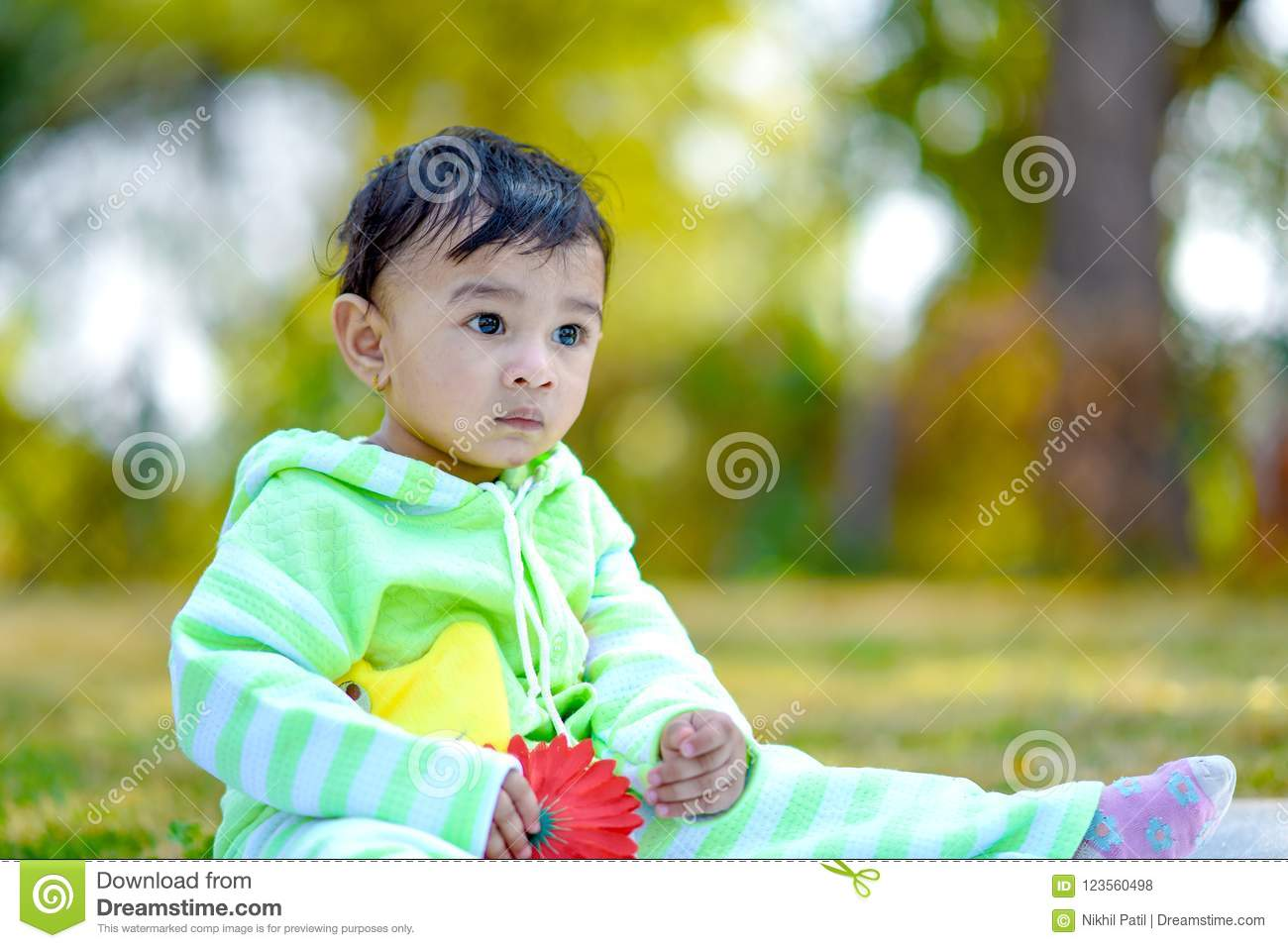 Cute Indian Baby Boy Playing At Garden Stock Photo - Image of cute