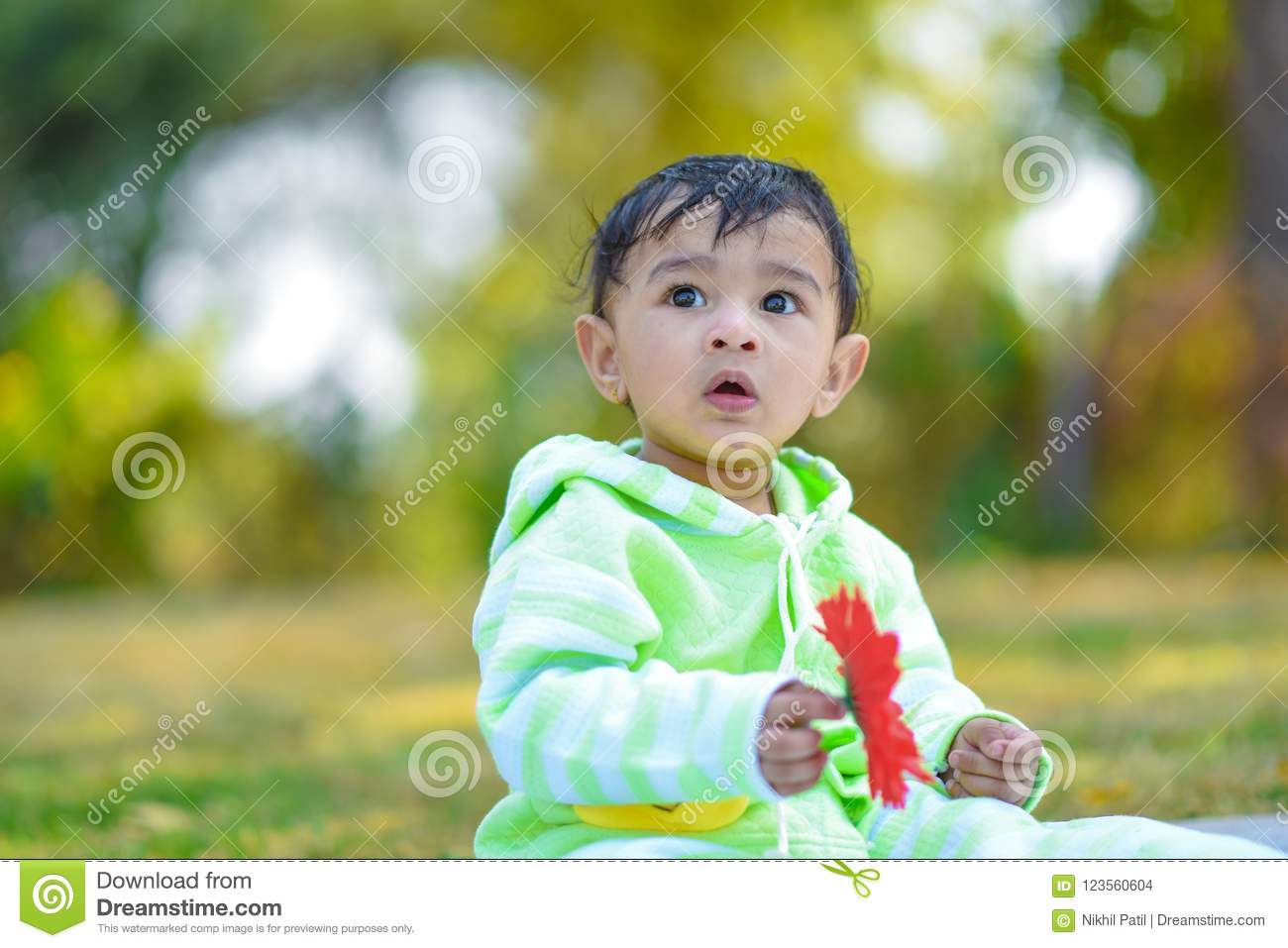 Cute Indian Baby Boy Playing At Garden Stock Photo Image Of India Babies 123560604