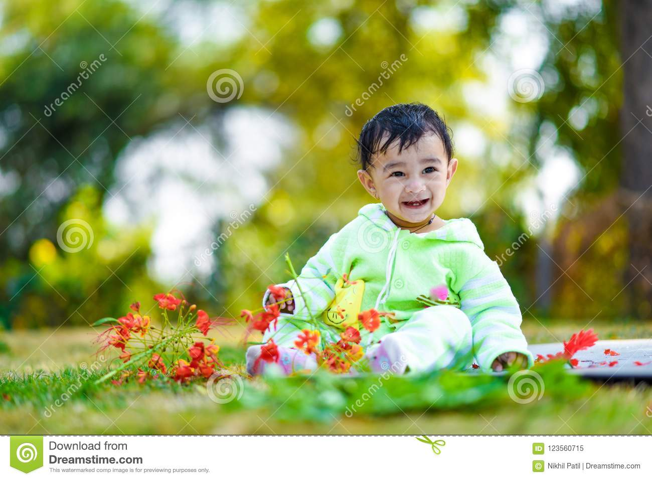 Cute Indian Baby Boy Playing At Garden Stock Image Image Of Grass Beauty 123560715