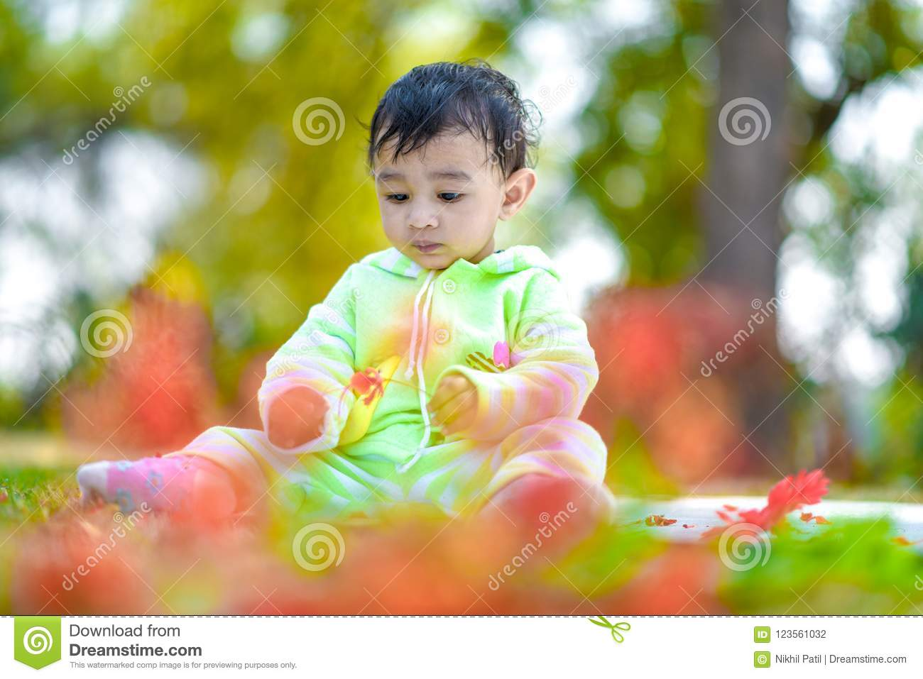 Cute Indian Baby Boy Playing At Garden Stock Photo Image Of Expression India 123561032
