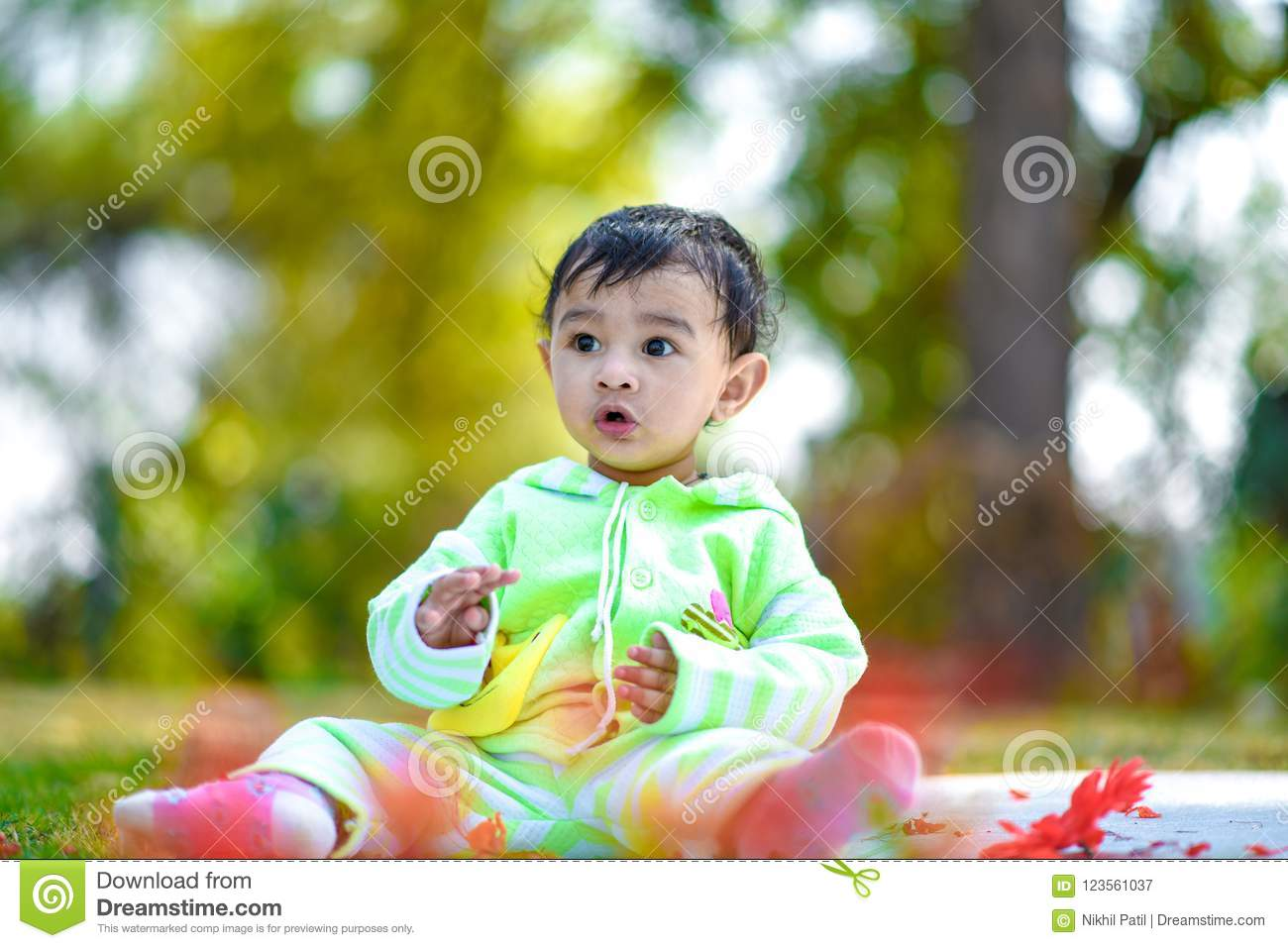 Cute Indian Baby Boy Playing At Garden Stock Image Image Of Cute Green 123561037