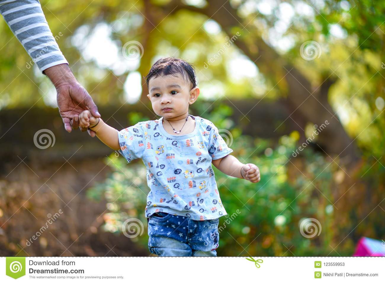 Cute Indian Baby Boy Playing At Garden Stock Image Image Of Little