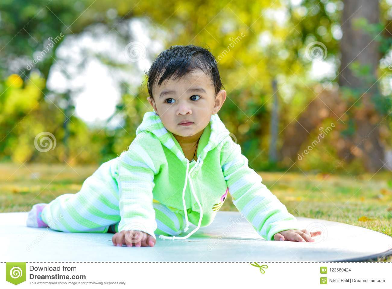 Cute Indian Baby Boy Playing At Garden Stock Photo Image Of Beauty Green 123560424