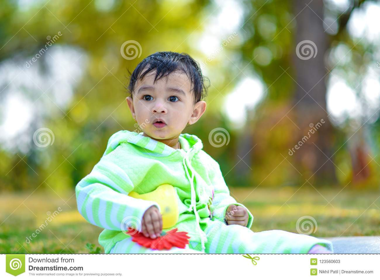 Cute Indian Baby Boy Playing At Garden Stock Image Image Of Asian Happy 123560603