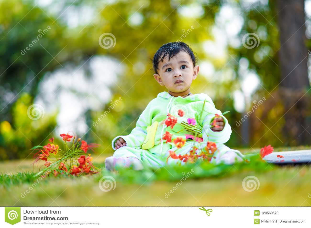 Cute Indian Baby Boy Playing At Garden Stock Photo - Image of