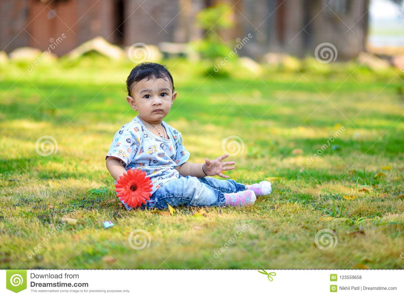 Cute Indian Baby Boy Playing At Garden Stock Photo Image Of Nature Cheerful 123559658