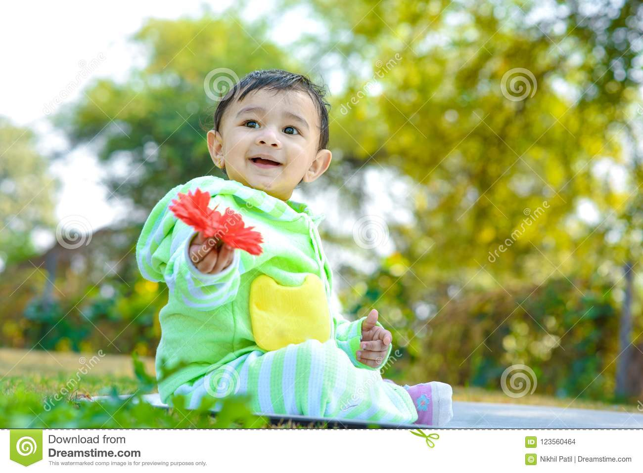 Cute Indian Baby Boy Playing At Garden Stock Photo Image Of Green