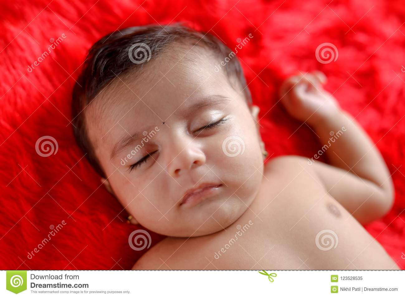 Cute Indian Baby Girl Sleeping On Bed Stock Image Image Of Indian Lovely 123528535