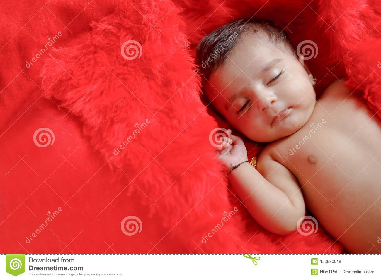 Cute Indian Baby Girl Sleeping On Bed Stock Photo Image Of Newborn Beautiful 123530018