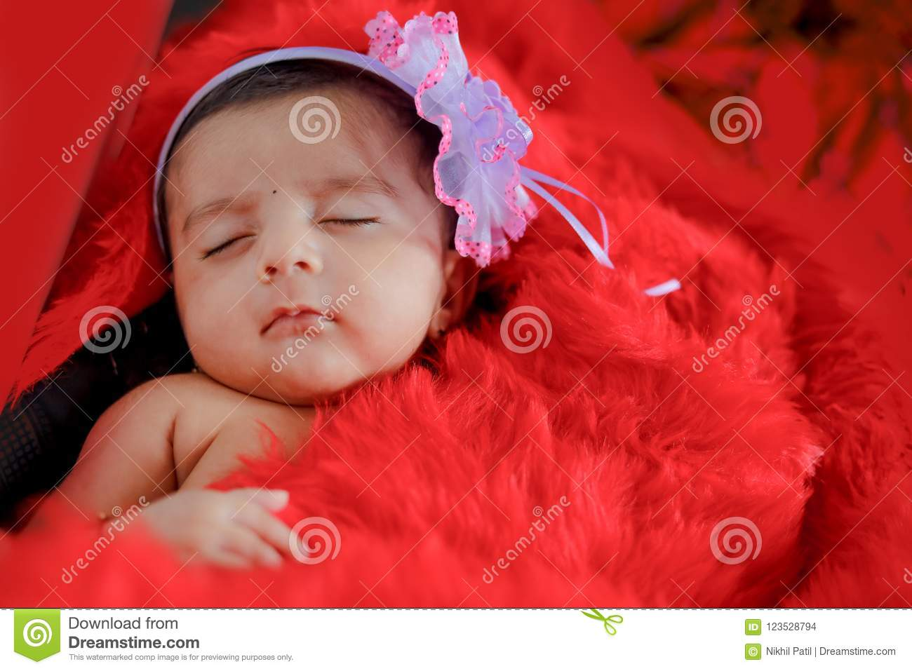 Cute Indian Baby Girl Sleeping On Bed Stock Photo Image Of Face