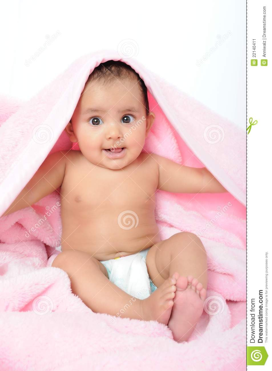 Cute Indian Babykid Sitting With A Blanket Stock Image Image Of
