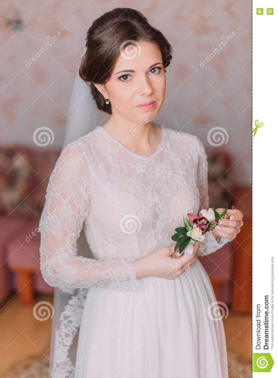 Cute Innocent Bride At Home In White Wedding Dress Preparations