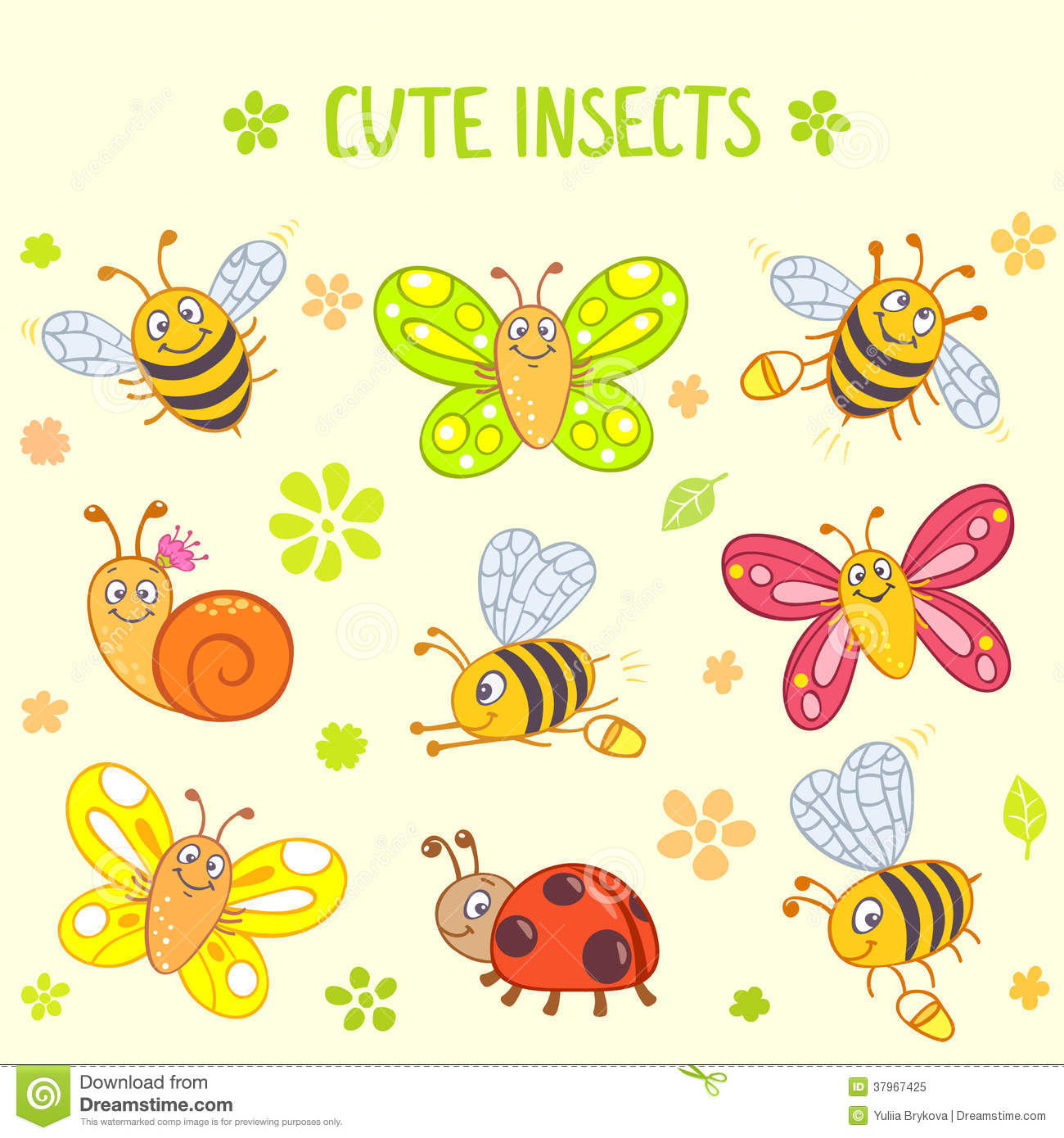 Cute Insects Set Royalty Free Stock Photo Image 37967425