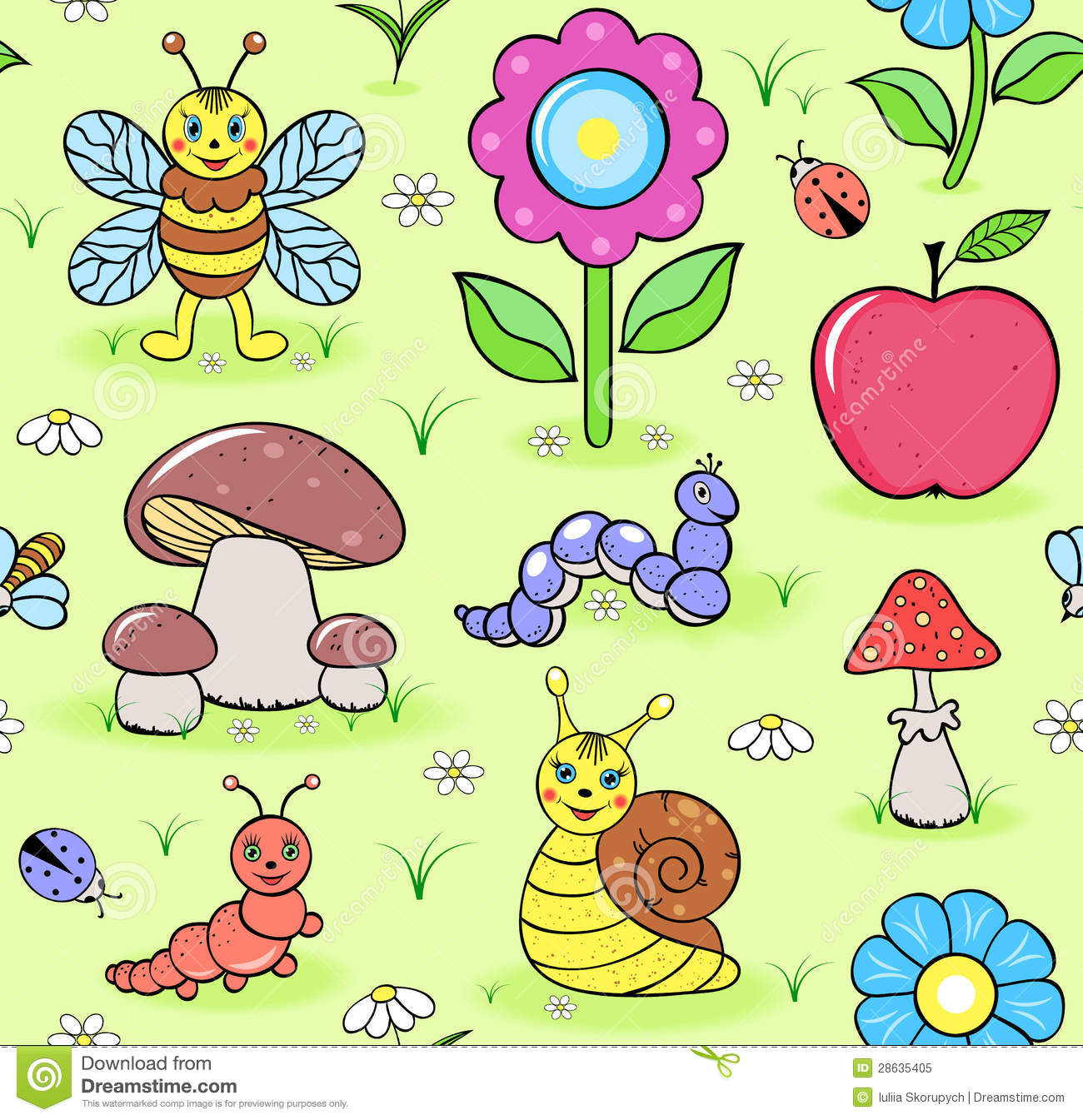 Cute insects on summer meadow