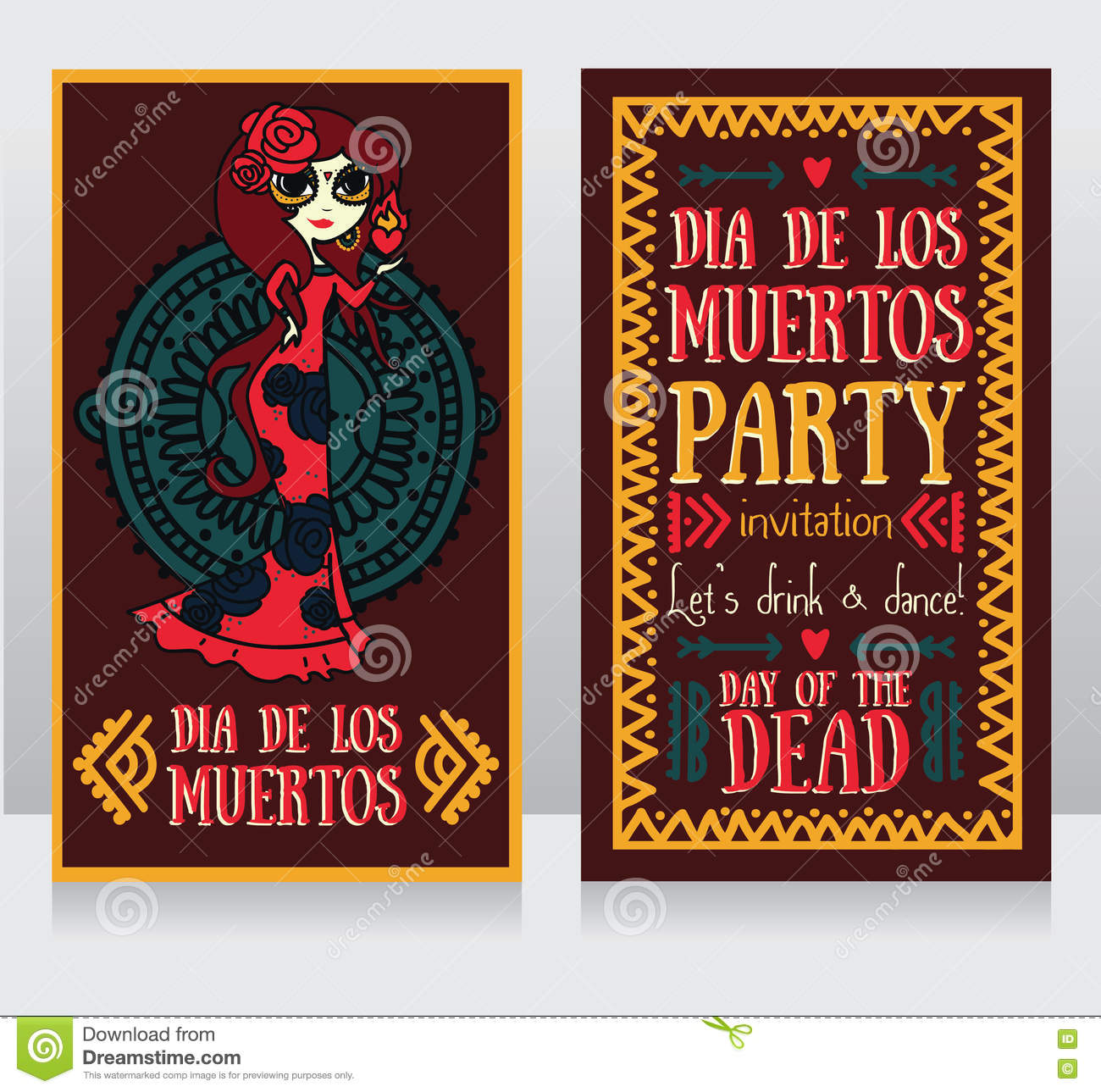 Cute Invitation Cards For Dia De Los Muertos Stock Vector