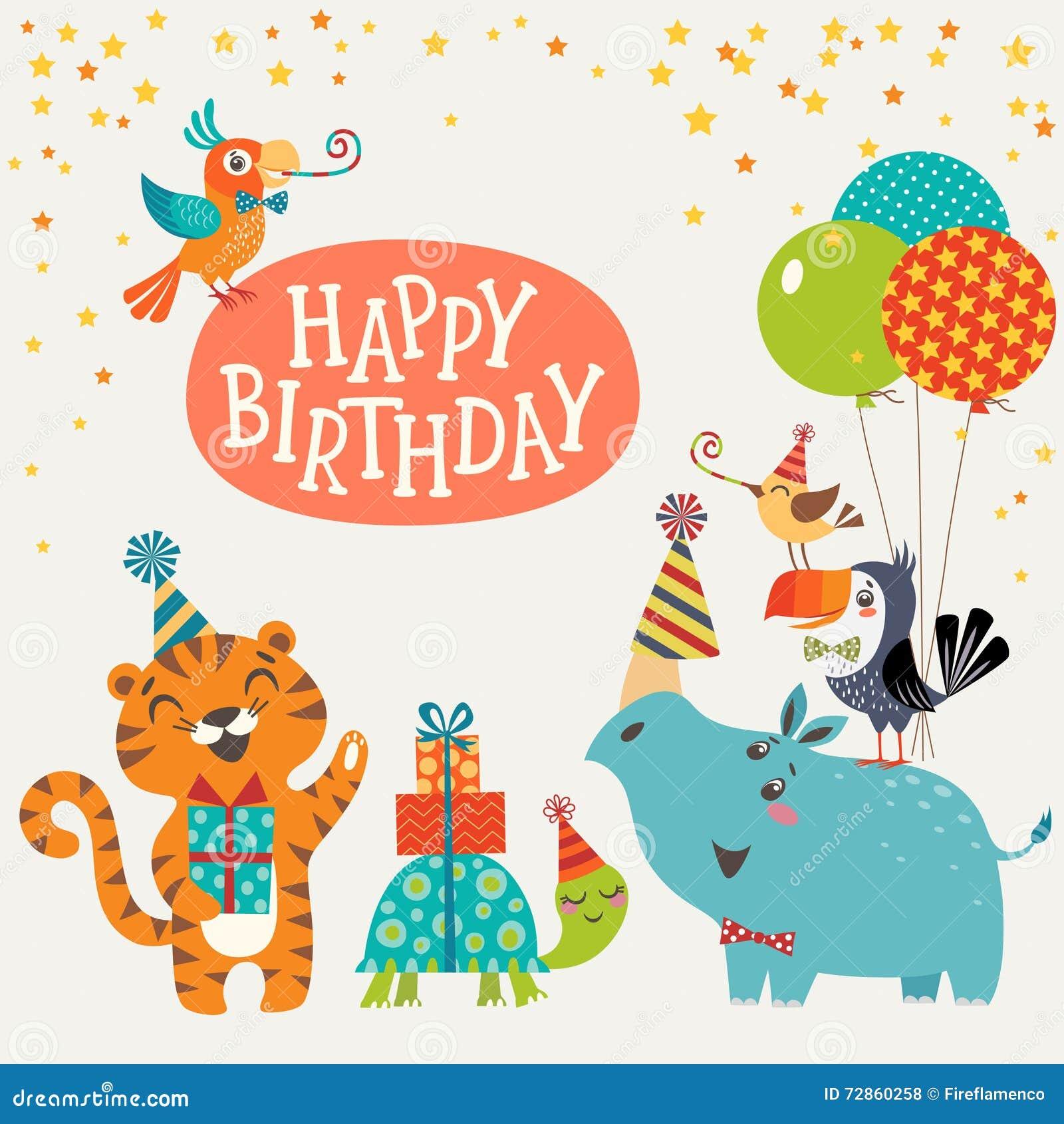 Cute Jungle Animals Happy Birthday Card Stock Vector
