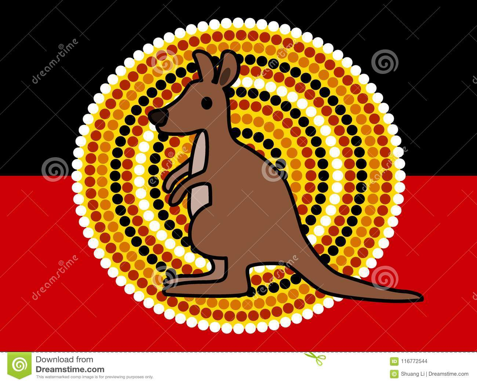 Cute Kangaroo And Australian Aboriginal Flag Stock Illustration