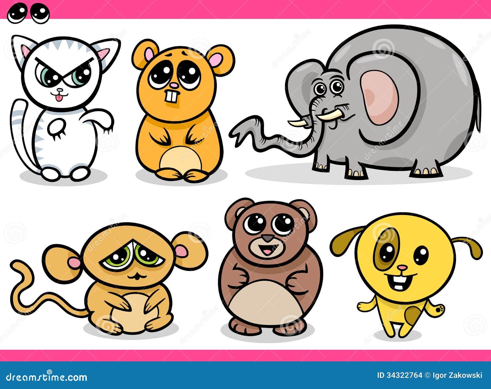 Cute Kawaii Animals Cartoons Stock Images