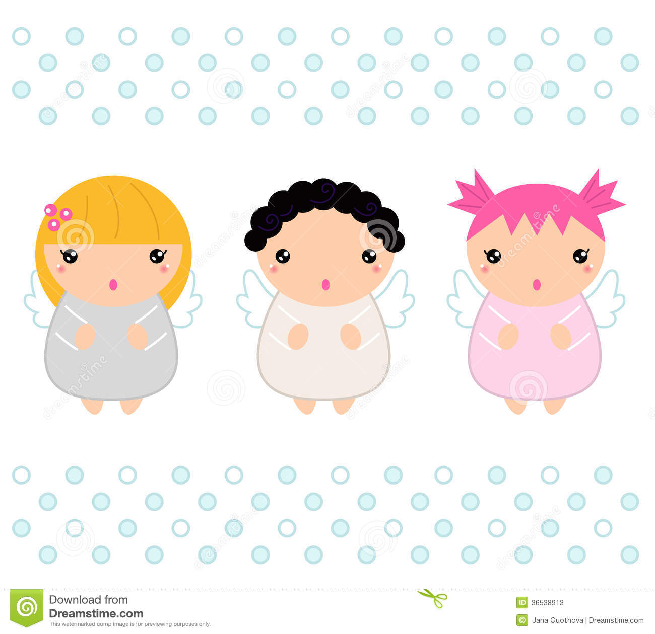 Cute Kawaii Christmas Angels Stock Illustration - Illustration of ...