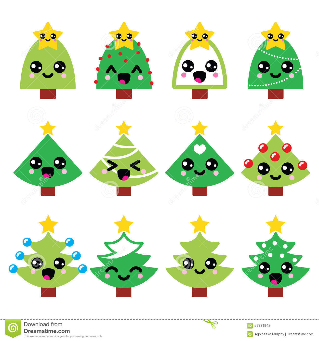 Cute Christmas Trees Decorated
