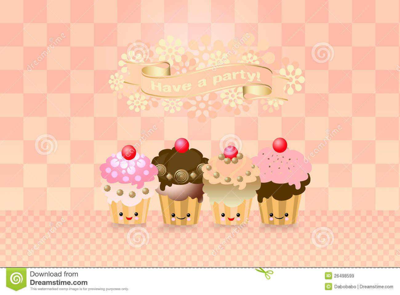 Cute Kawaii Cup Cake Royalty Free Stock Images - Image: 26498599