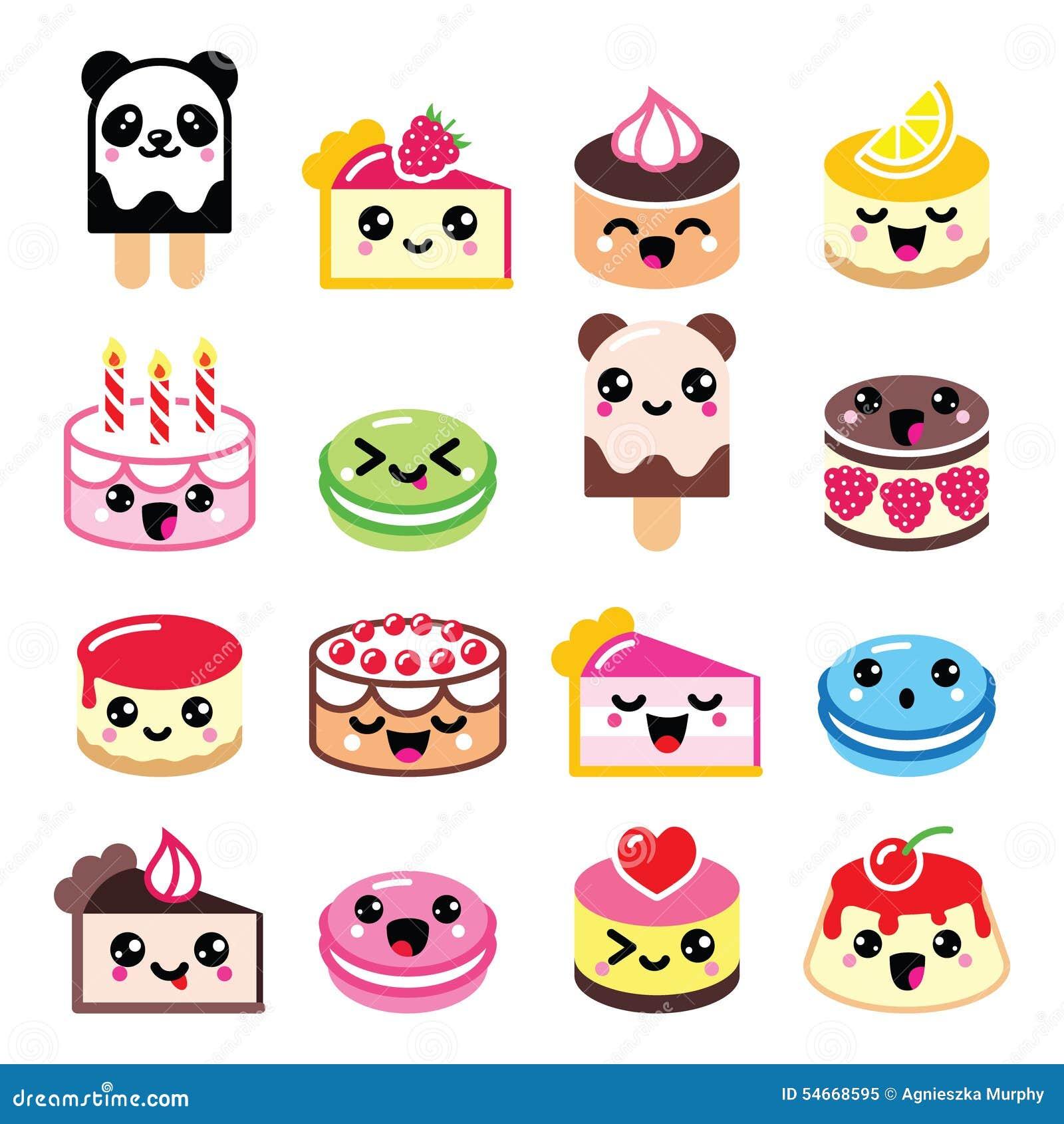 Uncategorized Cute Kawaii Food cute kawaii dessert cake macaroon ice cream icons stock food isolated kawaii