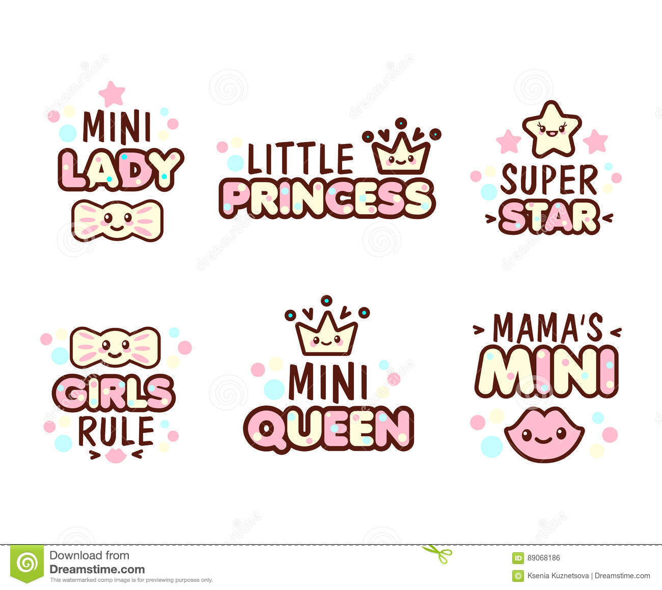 Cute Kawaii Emoticons With Baby Girl Objects Stock Vector