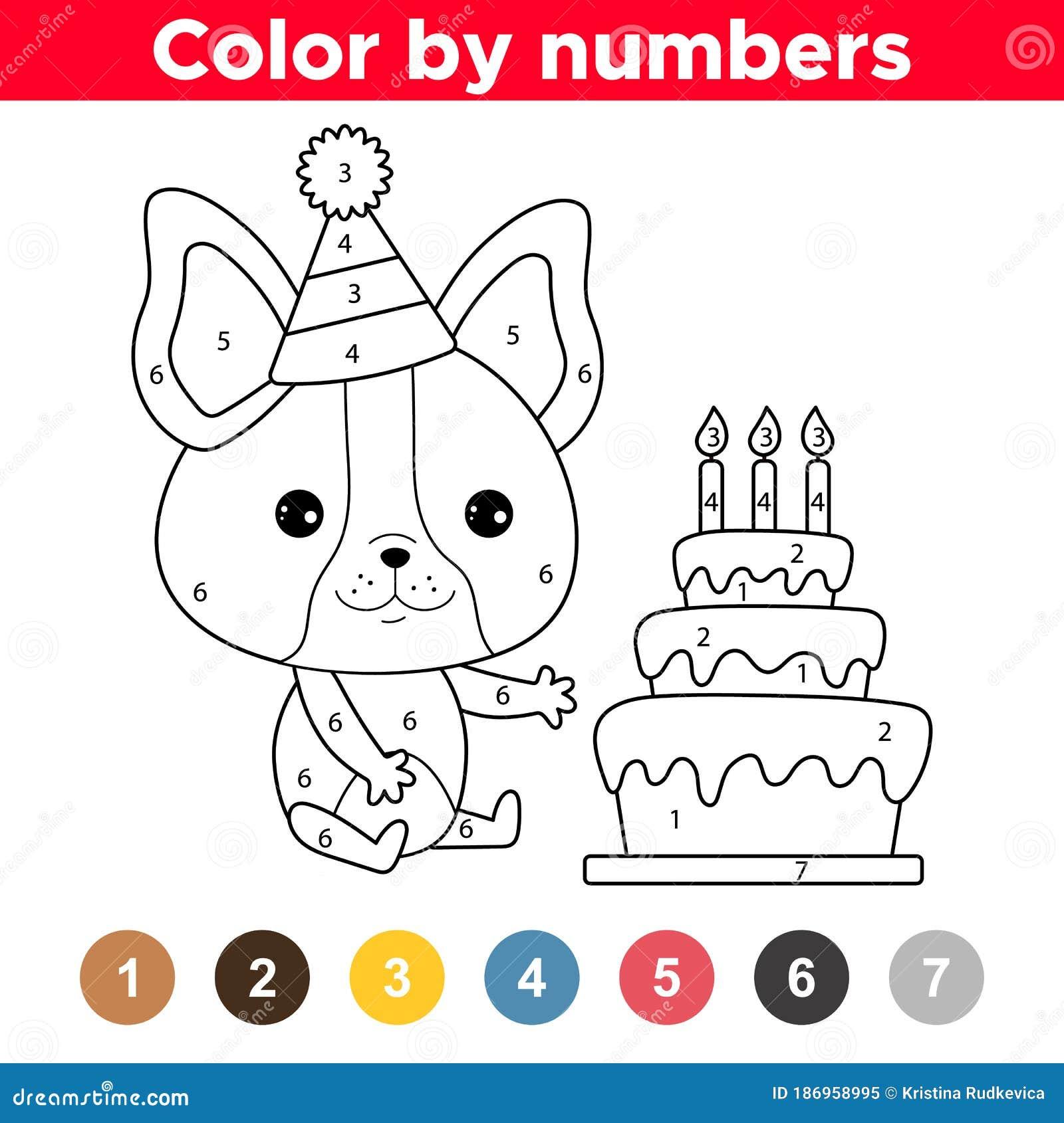 Cute Kawaii French Bulldog Puppy With Birthday Cake Stock Vector Illustration Of Cartoon Line 186958995