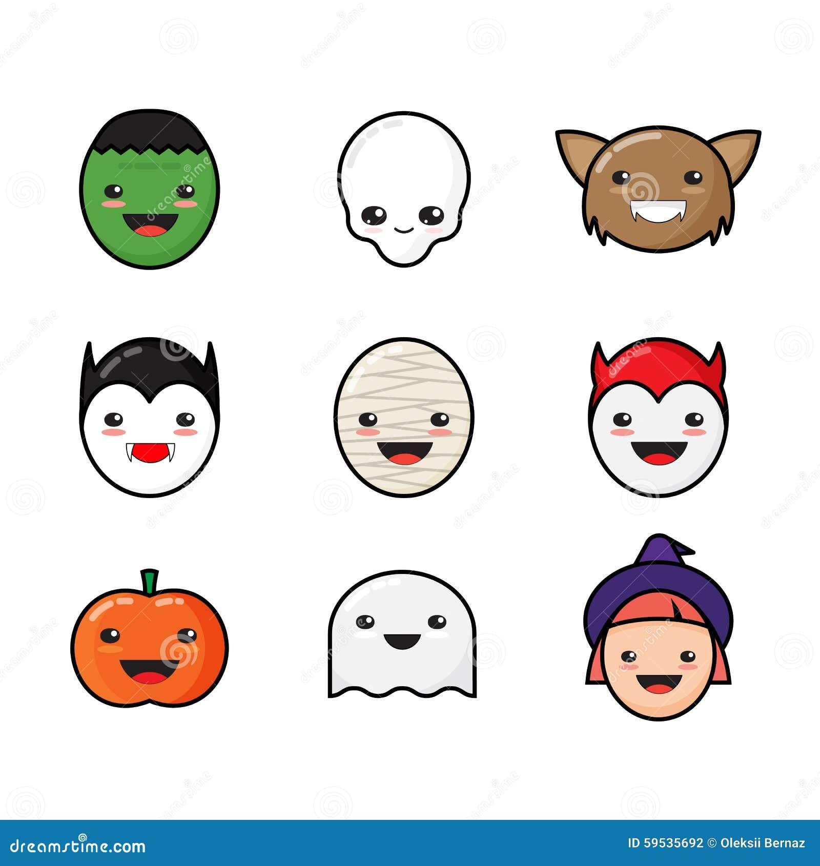 Cute Halloween Decorations Pinterest: Cute Kawaii Halloween Icons Set. Funny Monster Stock