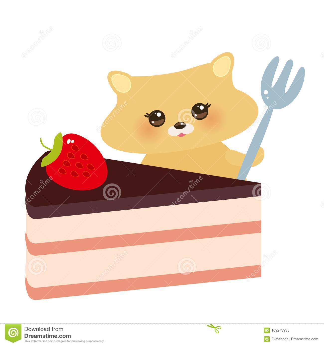 Cute kawaii hamster with fork, Sweet cake decorated with fresh Strawberry, pink cream and chocolate icing, pastel colors on white