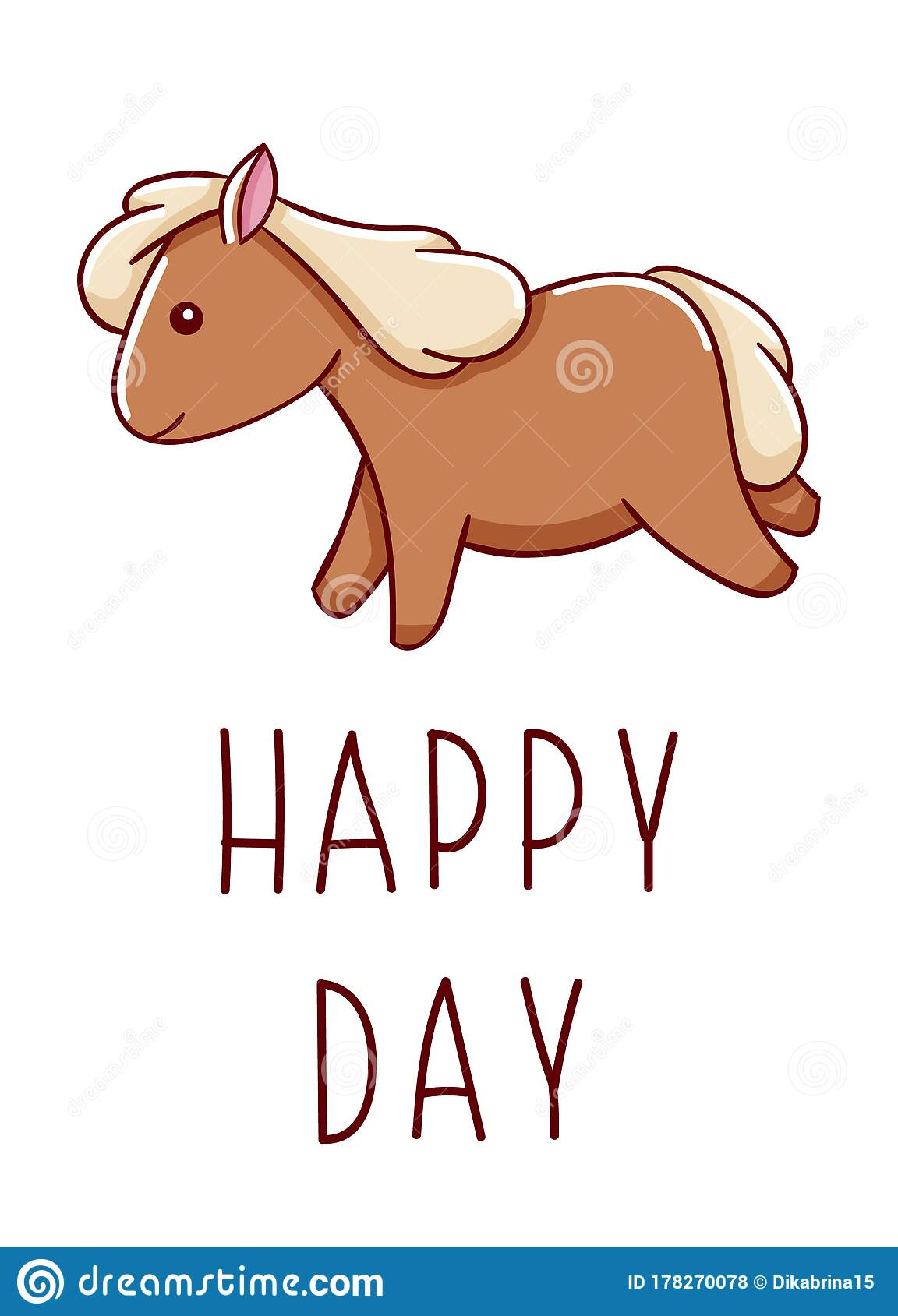 Cute Kawaii Hand Drawn Horse Doodles Lettering Happy Day Isolated On White Background Stock Vector Illustration Of Pony Baby 178270078