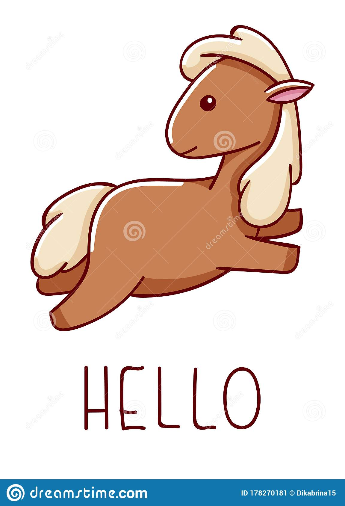 Cute Kawaii Hand Drawn Horse Doodles Lettering Hello Isolated On White Background Stock Vector Illustration Of Happy Adorable 178270181