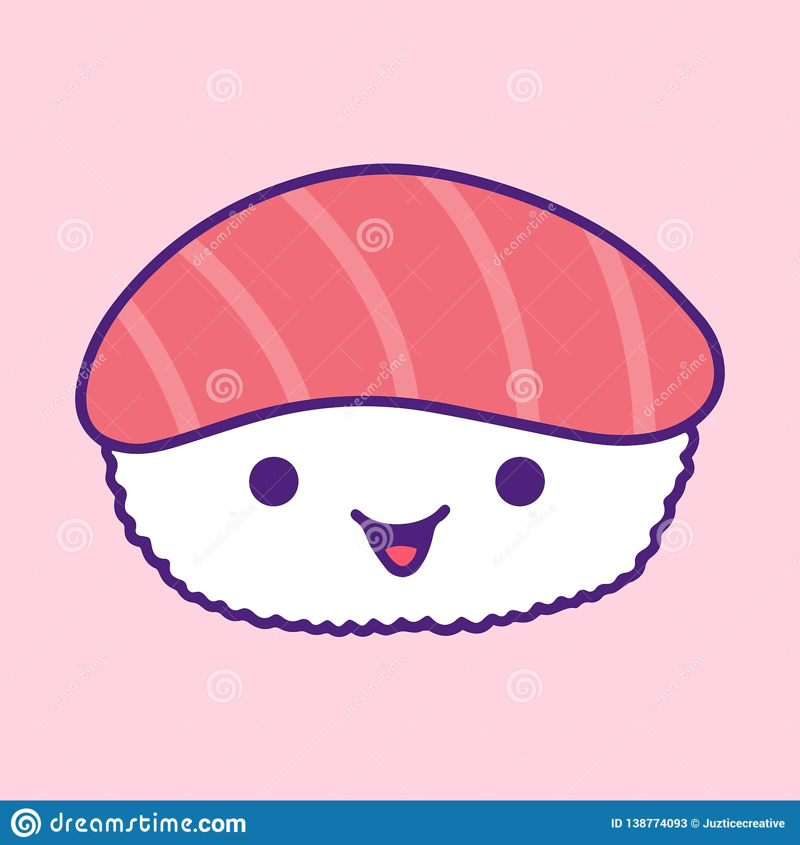 Cute Kawaii Illustration Of Salmon Sushi Smiling Stock