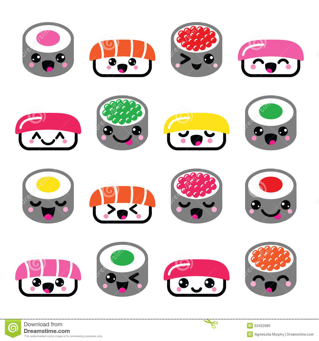 cute kawaii sushi japanese food vector icons set stock japanese clip art free download japanese clip art free download