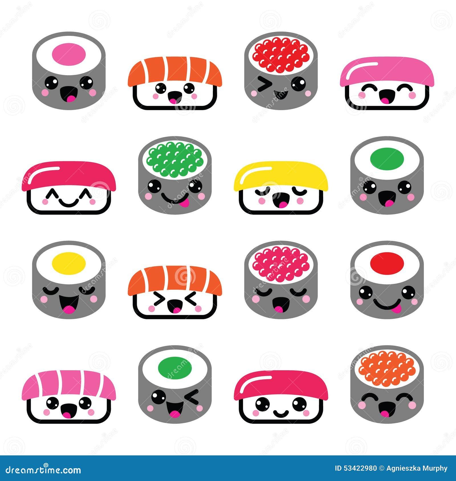 Cute Kawaii Sushi Japanese Food Vector Icons Set Stock