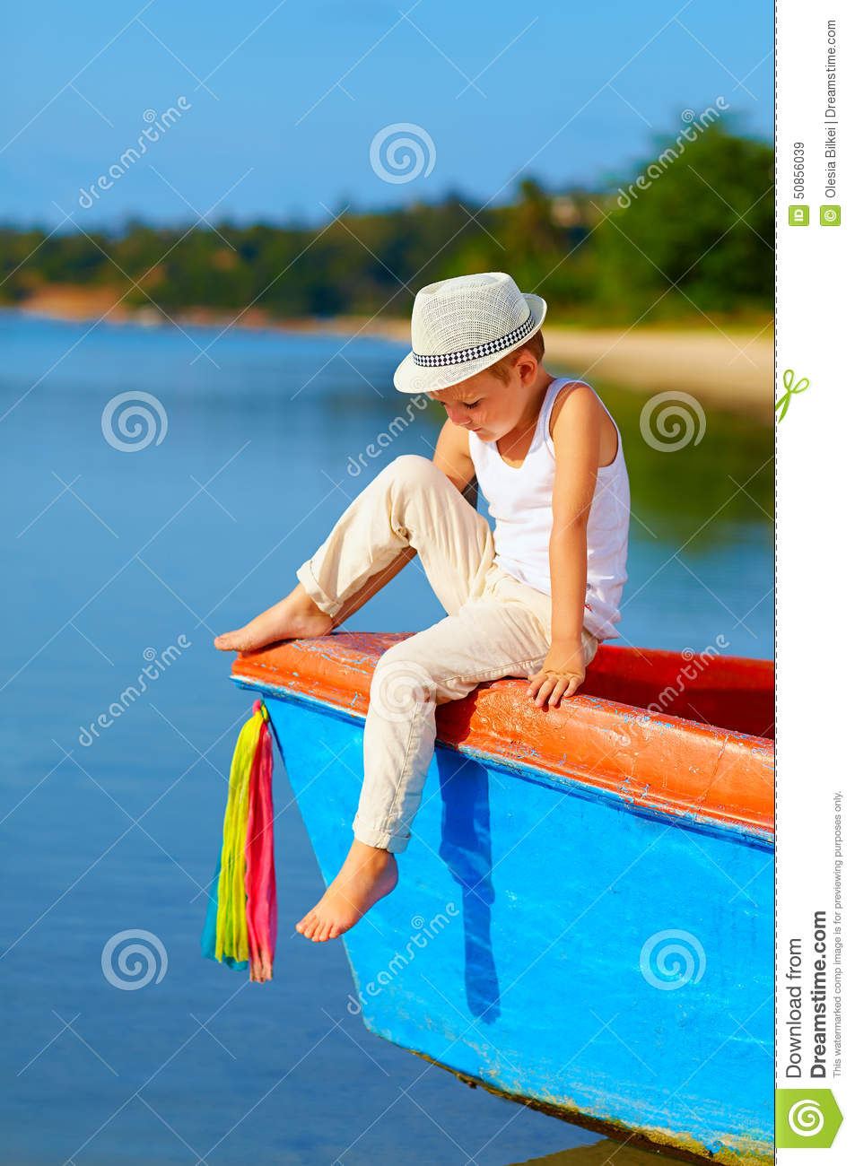 Cute Kid, Boy Sitting On The Bow Of A Boat Stock Image - Image of lifestyle, beach: 50856039