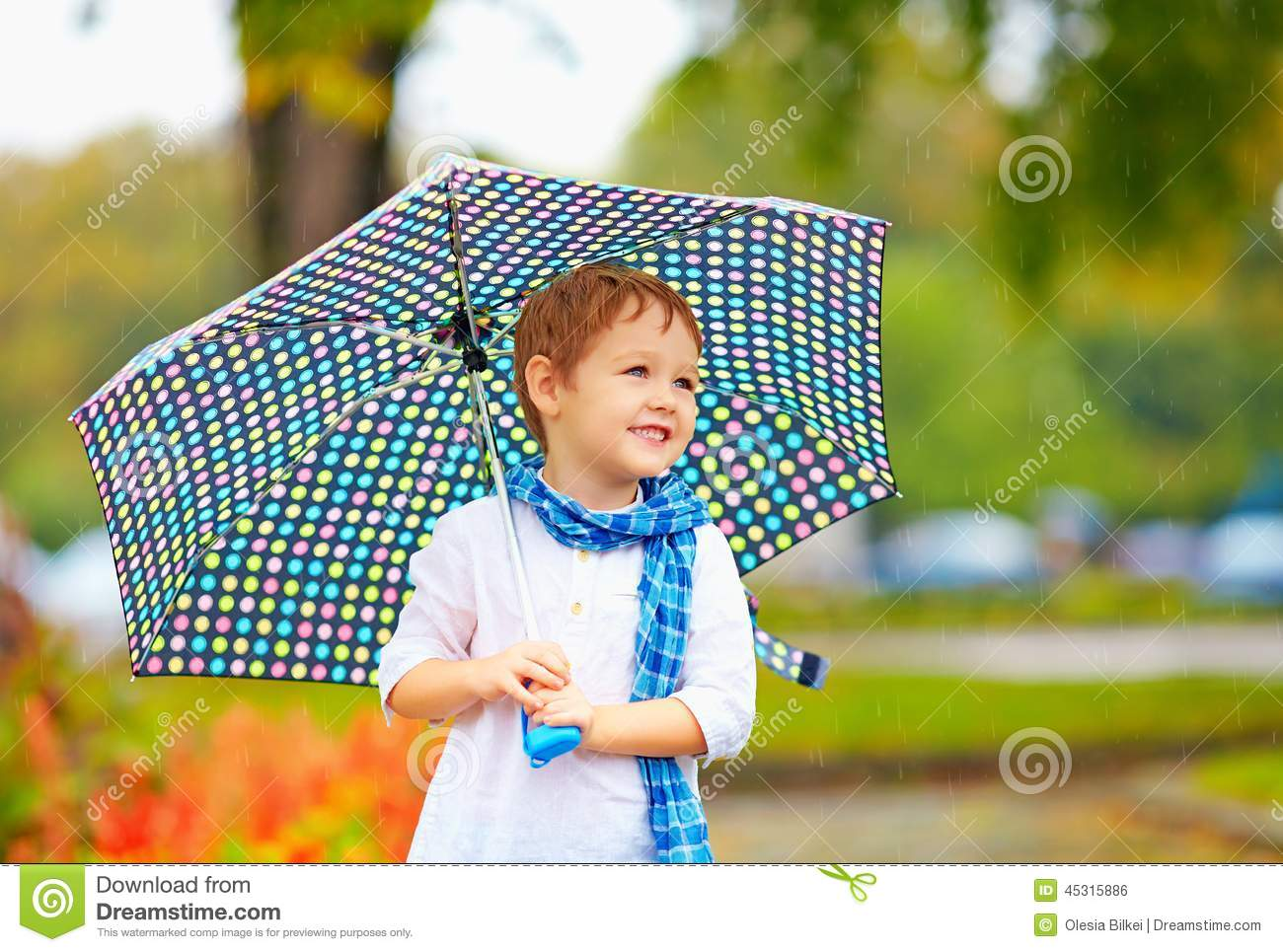 cute kid boy with umbrella in autumn park stock photo - image of